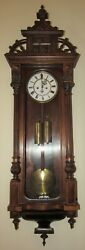 Antique German Two Weight Vienna Wall Clock 8-day Tme/strike