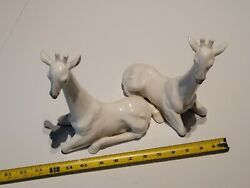 Vintage Fitz And Floyd White Giraffe Bookends 1970s Decor Figurines 8 Tall