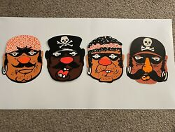 Antique Vtg Halloween Paper Pirate Face Mask - Perforated Holes Unused Lot Of 4