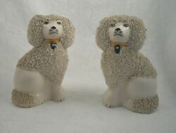 Two Staffordshire England Confetti Porcelain Poodle Dog Figurines 5quot; PV England