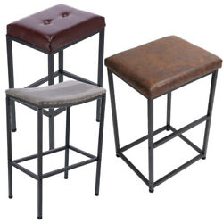 24 Or 29 Bar Stools Seat Metal Base Backless Faux Pu Leather Kitchen