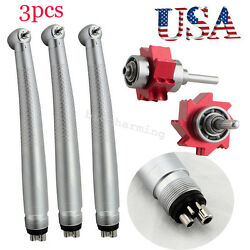 3x Dental High Speed Handpiece Large Push Button 3 Spray 4hole Red Bearing-usa