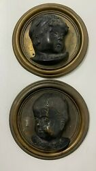 Antique French Bronze Wall Plaques Pair Busts Children Infants Dexter Sinister
