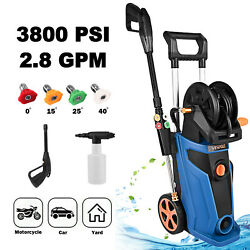 2.8gpm 1800w Electric Pressure Washer High Power Cold Water Cleaner 3800 Psi Hot