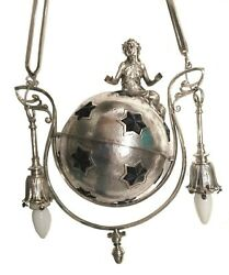 Antique Exceptional Art Deco Figural Lady Globe Ball Ruby Stars Chandelier Lamp