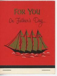 Vintage Gold Sail Boat Ship Print Fathers Day Matchbook Art Greeting Card Print