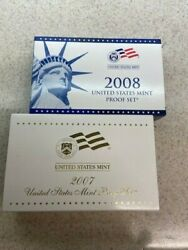Lot Of 2 2007 And 2008 Us Mint Proof Sets