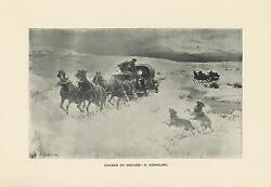 Antique Russian Horses Equestrian Snow Chased By Wolves Wolf Pack Old Art Print
