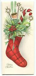 Vintage Christmas Stocking Doll Holly Berry Candy Cane Embossed Greeting Card
