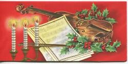 Vintage Christmas Embossed Candles Violin Red Green Holly Mcm Art Greeting Card