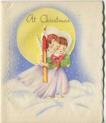 Vintage Christmas Angels Candle Full Moon Snow Clouds Embossed Art Greeting Card
