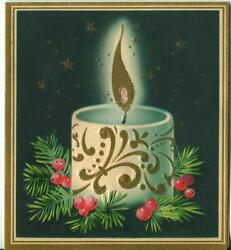 Vintage Christmas White Teal Blue Navy Blue Candle Holly Stars Greeting Card