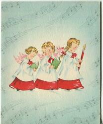 Vintage Christmas Angels Pink Blue Music Notes Candle Choir Mid Century Art Card