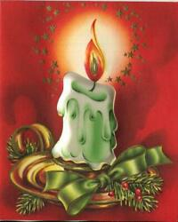 Vintage Christmas Green White Candle Flame Holly Pine Star Nouveau Greeting Card