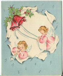 Vintage Christmas Angels Pink Blue White Red Bells Holly Horn Mid Century Card
