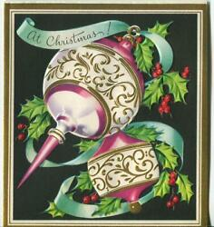 VINTAGE CHRISTMAS OLD ORNAMENTS ARE NOUVEAU DECO WHITE GOLD EMBOSS GREETING CARD