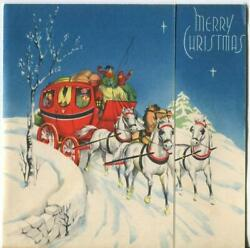 Vintage Christmas Horses Red Coach Victorian Sleigh Ride Stars Eve Greeting Card