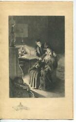Antique Victorian Love Fireplace Hurricane Oil Lamp Eventail Girl Etching Print