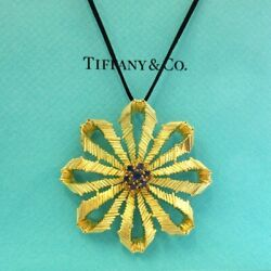 Vintage And Co. 18k Gold Sapphire Flower Pendant Necklace Extra Large