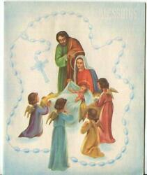 Vintage Christmas Holy Family Angels Nativity Rosary Beads Christ Greeting Card