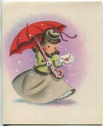 Vintage Christmas Pretty Girl Red Candy Cane Umbrella Snowflakes Norcross Card
