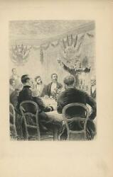 Antique Banquet Dinner Drink Toast Military Men General Flags Etching Art Print