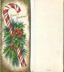 Vintage Christmas Candy Cane Red White Gold Green Holly Berry Mcm Greeting Card