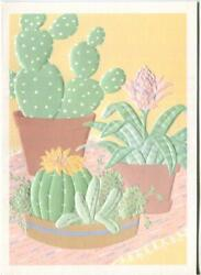 Vintage Cactus Flowers Plants Yellow Pink And Christmas Snow Child Squirrel Card