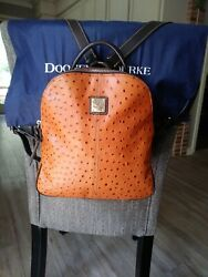 Dooney And Bourke Cognac Ostrich Embossed Leather Backpack Purse Pre owned $85.00