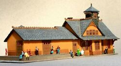 N-scale Pre-built Victorian Train Station With People, New Condition, Weathered