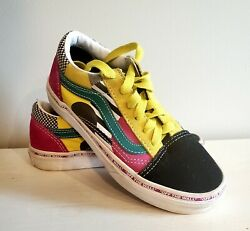 VANS #x27;Off the Wall#x27; Kids Size 13 Multi Color Low Top Lace Up Youth Canvas Shoes