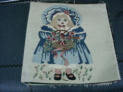 VICTORIAN CHILD FLOWERS NEEDLEPOINT TAPESTRY FABRIC PANEL 12quot; X 14quot; NEW PILLOW