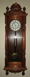 Antique Austrian One Weight Vienna Time Wall Clock 8-day