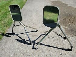 Vintage Truck Camper Rv Fender Universal Type Towing Mirrors Clamp Ford Scout