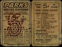 Parks Service Stations Long Beach Lakewood Wilmington Ca Gf 5andcent It Gasoline Token