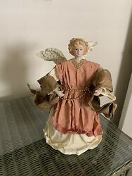 """Vintage Paper Mache/ Painted Resin/ Angel Table Topper/ Hanging Ornament 10"""""""