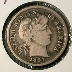 1894-p Vf Barber Dime  Nice Coin