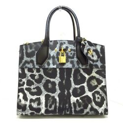 Auth Louis Vuitton City Steamer Mmm43092 Black White Others Fo2166 Tote Bag