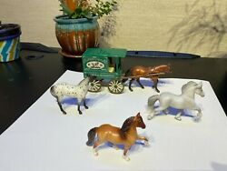 breyer stablemates lot with rare harness company cart lightly used