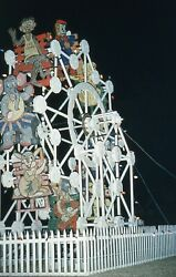 1955 Slide View of Christmas Themed Ferris Wheel Cartoon Characters Red Border