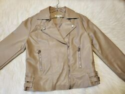 Miami Moto Jacket faux leather Women#x27;s Taupe Tan Silver Zippers Pockets Size S $24.99