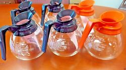For Bunn Lot Of 6 12 Cup Commercial Coffee Pots/decanters - 4 Black And 2 Orange