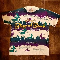 vtg all over print shirt Disney Blizzard Beach Large Mickey Mouse $99.99