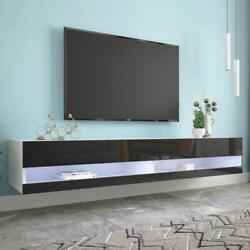 70 Tv Stand Wall Mounted Floating With 16 Color Led Hanging Tv Consoles For 80