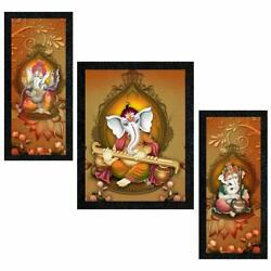 Poster N Frames Uv Textured Decorative Art Print Of Lord Ganesh With Wooden Synt