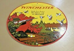 Vintage Winchester Porcelain Shot Gun Shells And Ammo Advertising Gas Service Sign