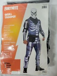 Fortnite Skull Trooper Mens Halloween Costume Cosplay Sz Small With Accessories