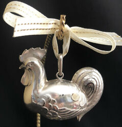 Excellent Cazenovia Rm Trush Sterling Silver Rooster Chicken Puffy Ornament