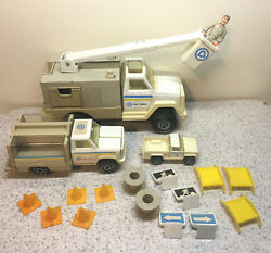 Three 1970's Tonka Bell Telephone System Trucks With Driver And Accessories