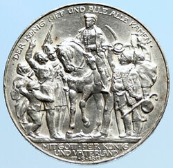 1913a Germany William Iii Prussia War Napoleon Antique Silver 3 Mark Coin I96928